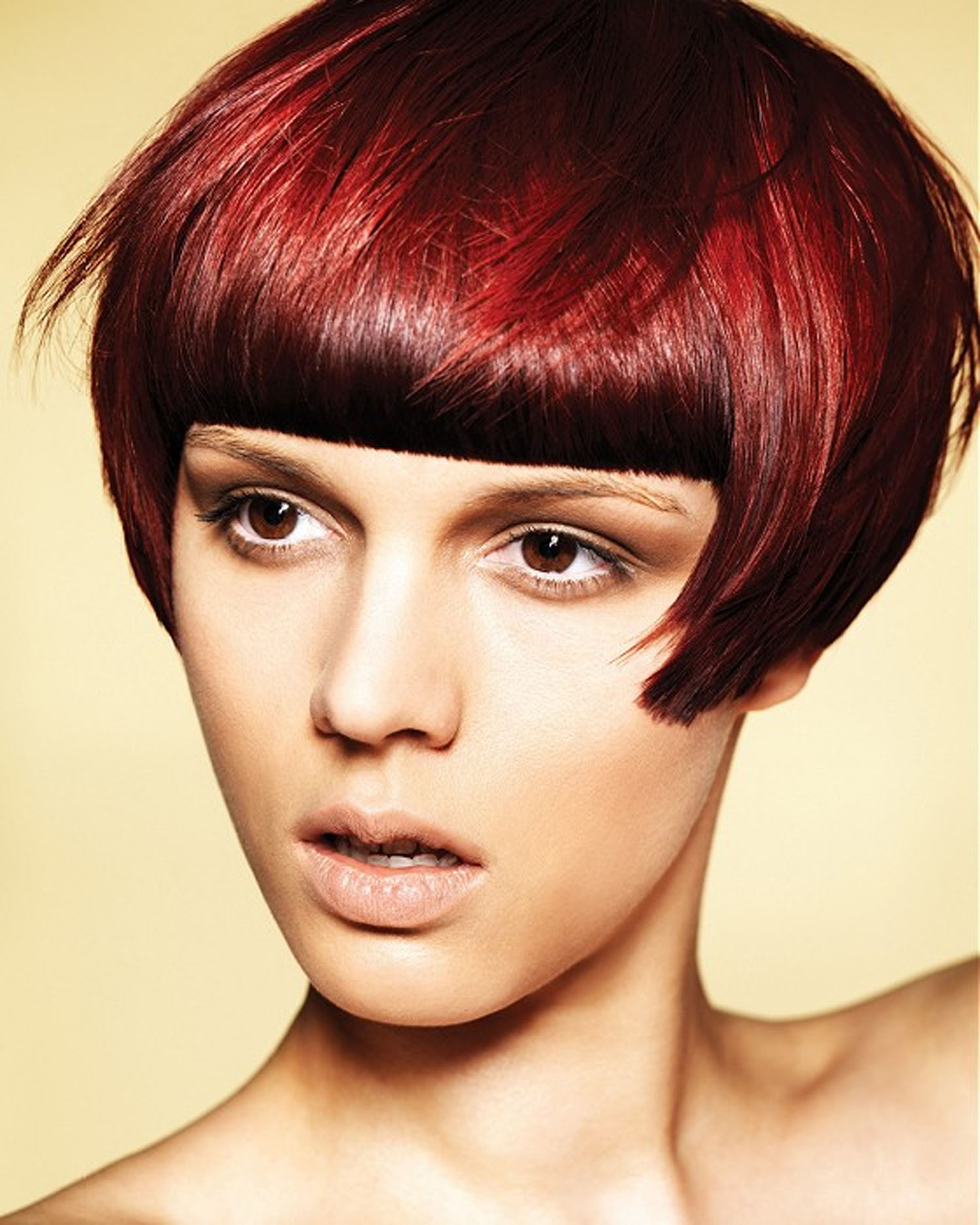 Bob with Fringe as Red Hair Color Ideas for Women Hairstyle