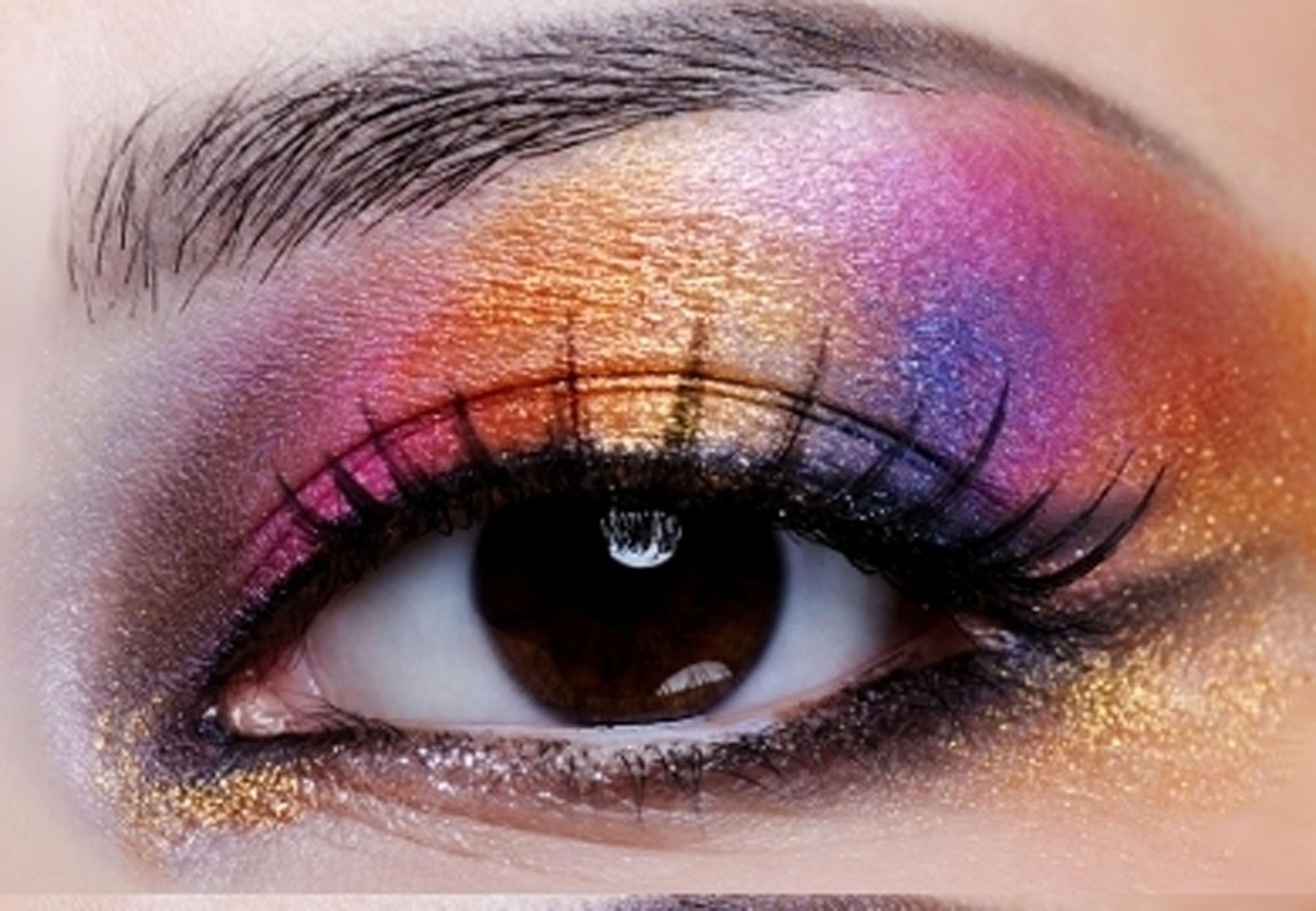 Shimmery Rainbow Eye Makeup as Makeup Ideas for Women